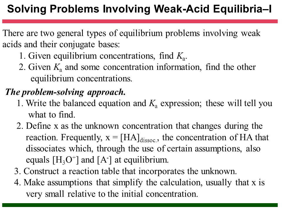Solving Problems Involving Weak-Acid Equilibria–I