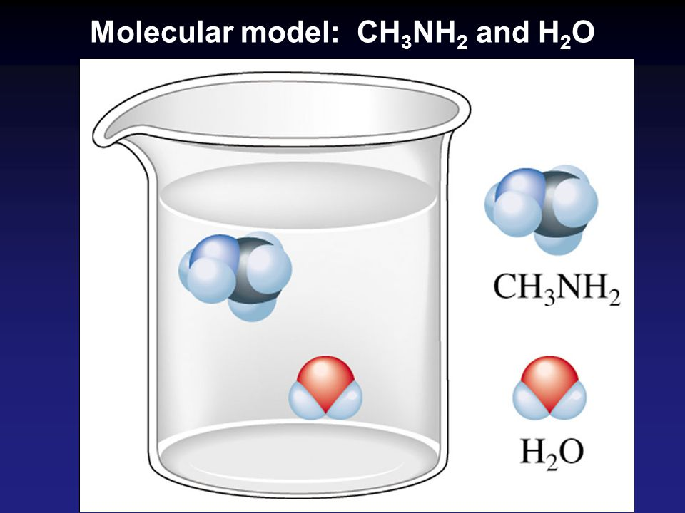 Molecular model: CH3NH2 and H2O