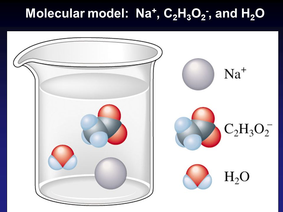 Molecular model: Na+, C2H3O2-, and H2O