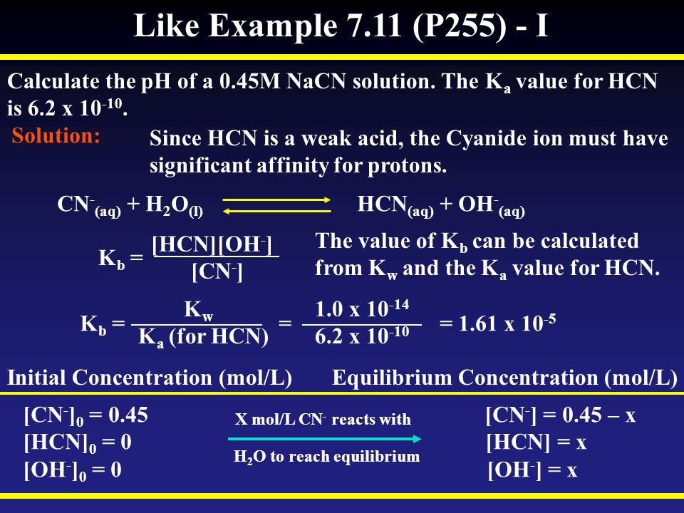 Like Example 7.11 (P255) - I Calculate the pH of a 0.45M NaCN solution. The Ka value for HCN. is 6.2 x 10-10.