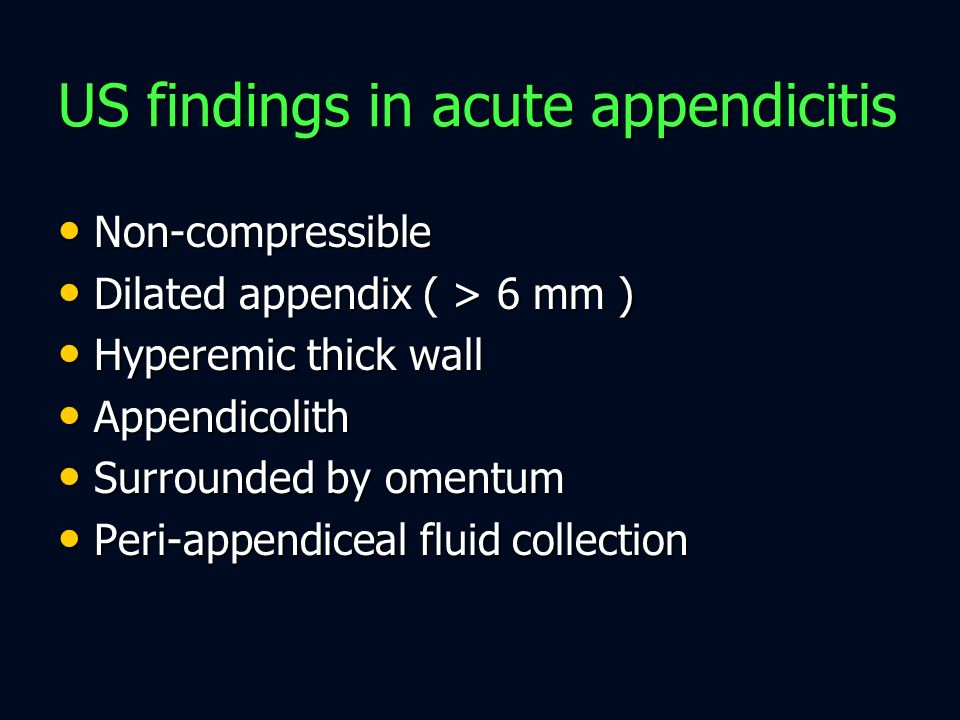US findings in acute appendicitis
