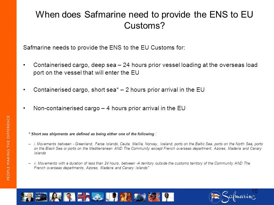 When does Safmarine need to provide the ENS to EU Customs