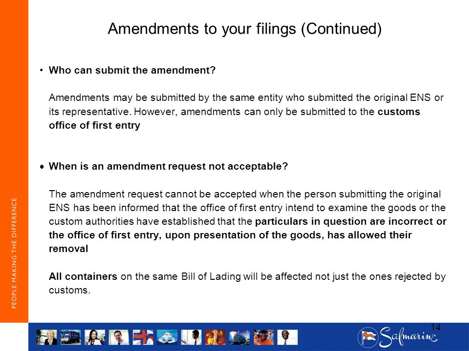 Amendments to your filings (Continued)