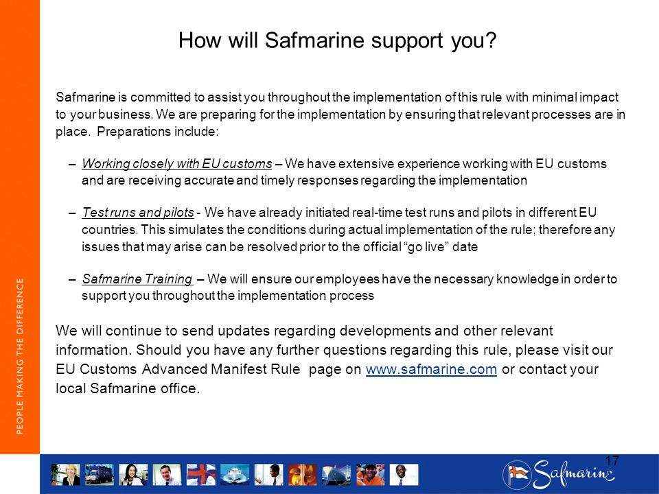 How will Safmarine support you