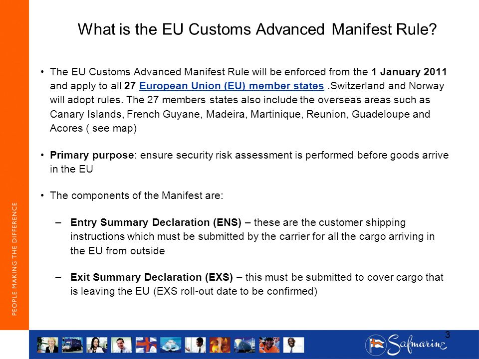 What is the EU Customs Advanced Manifest Rule