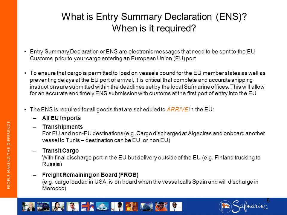 What is Entry Summary Declaration (ENS) When is it required