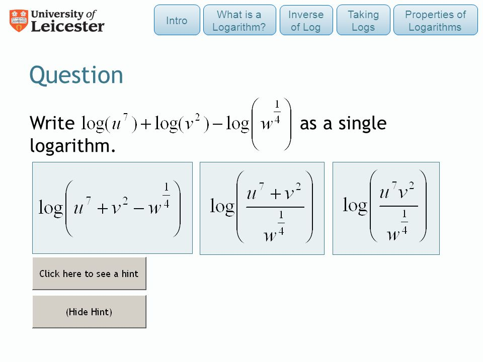 Question Write as a single logarithm.