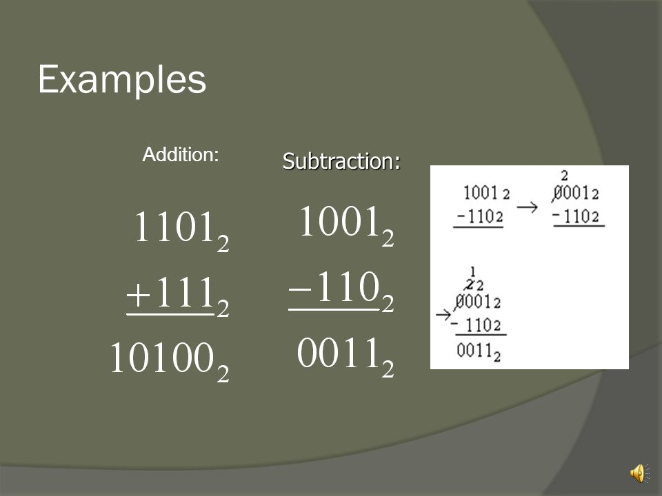 Examples Addition: Subtraction: