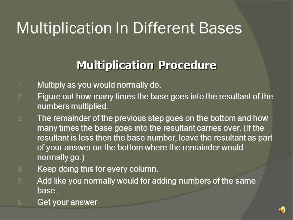 Multiplication In Different Bases