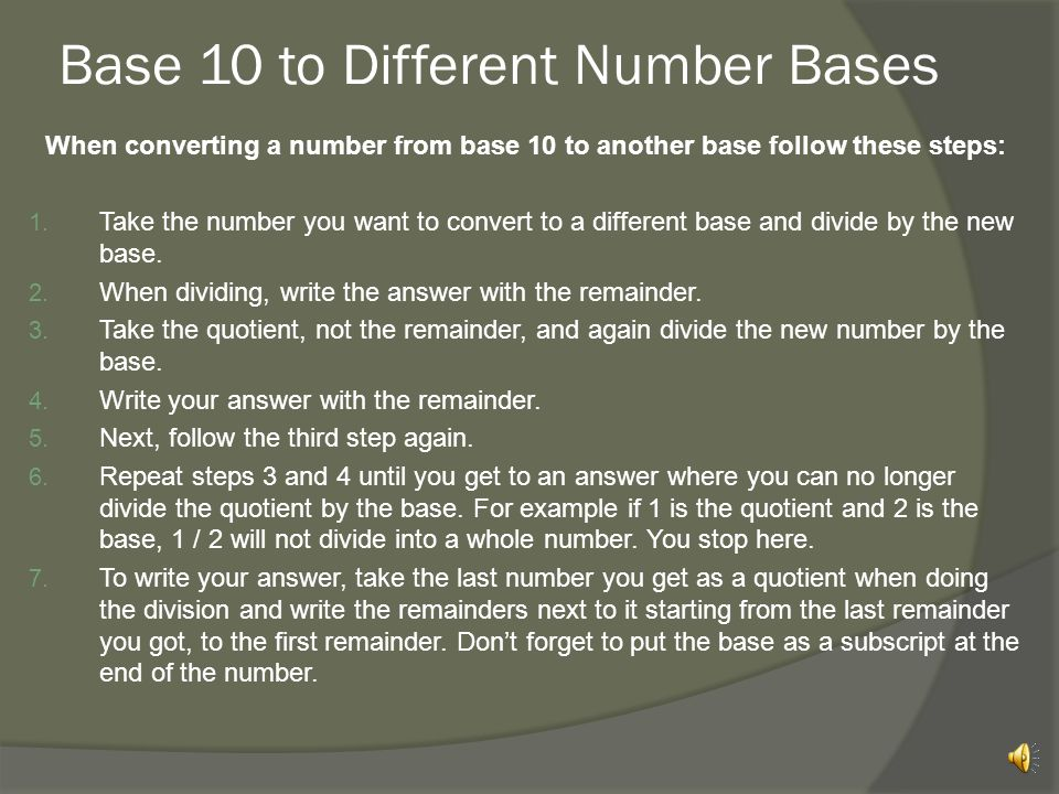 Base 10 to Different Number Bases