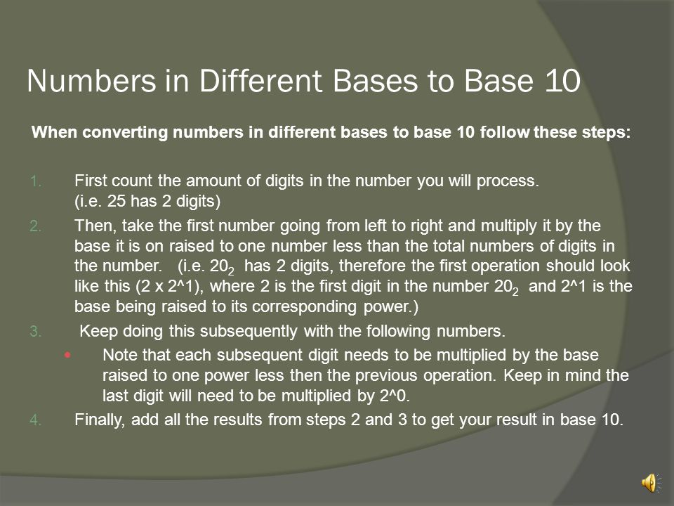 Numbers in Different Bases to Base 10