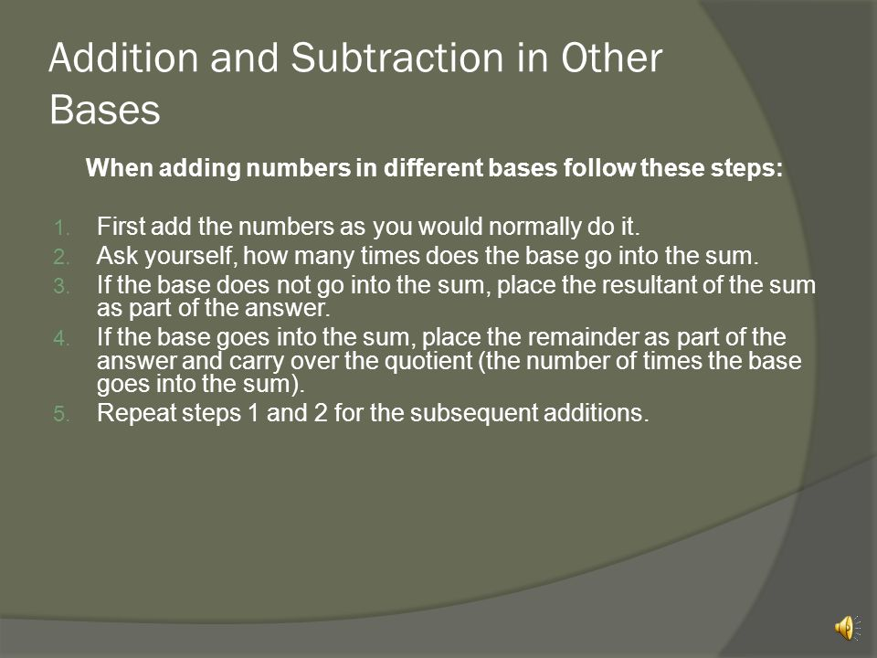 Addition and Subtraction in Other Bases