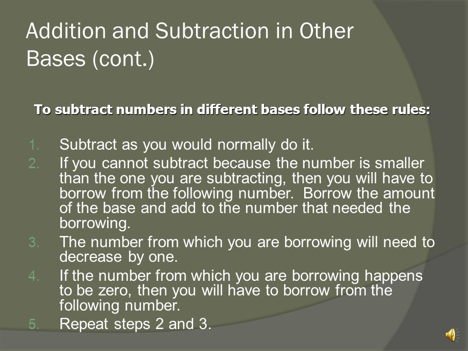 Addition and Subtraction in Other Bases (cont.)