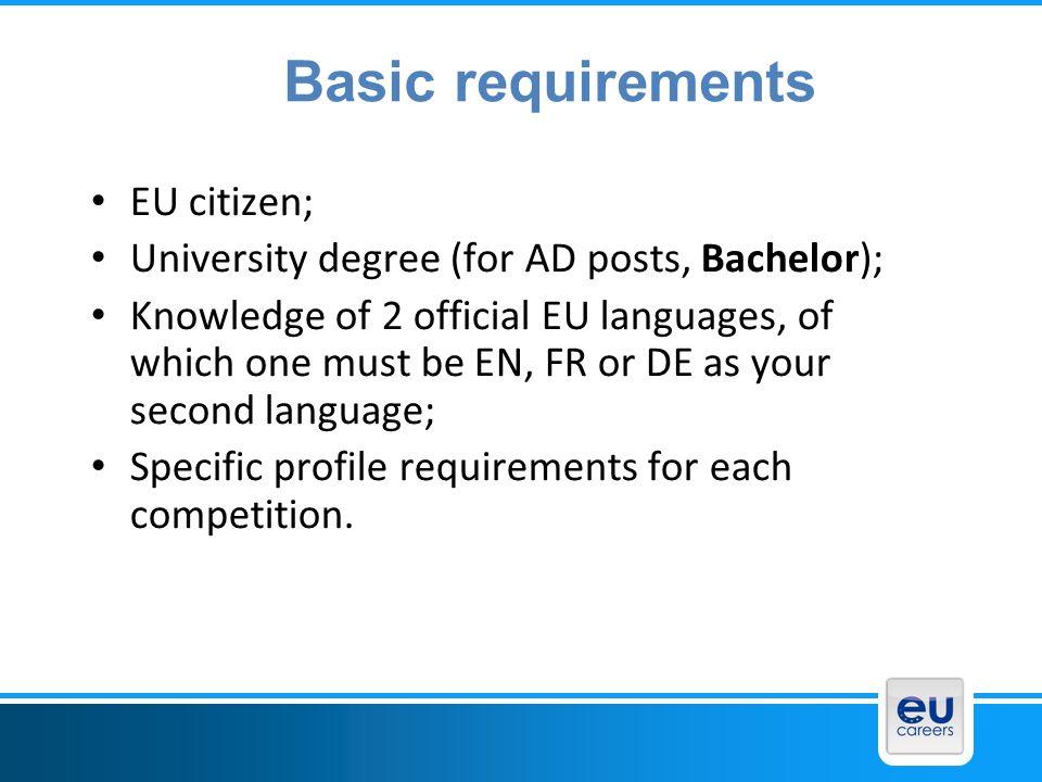 Basic requirements EU citizen;