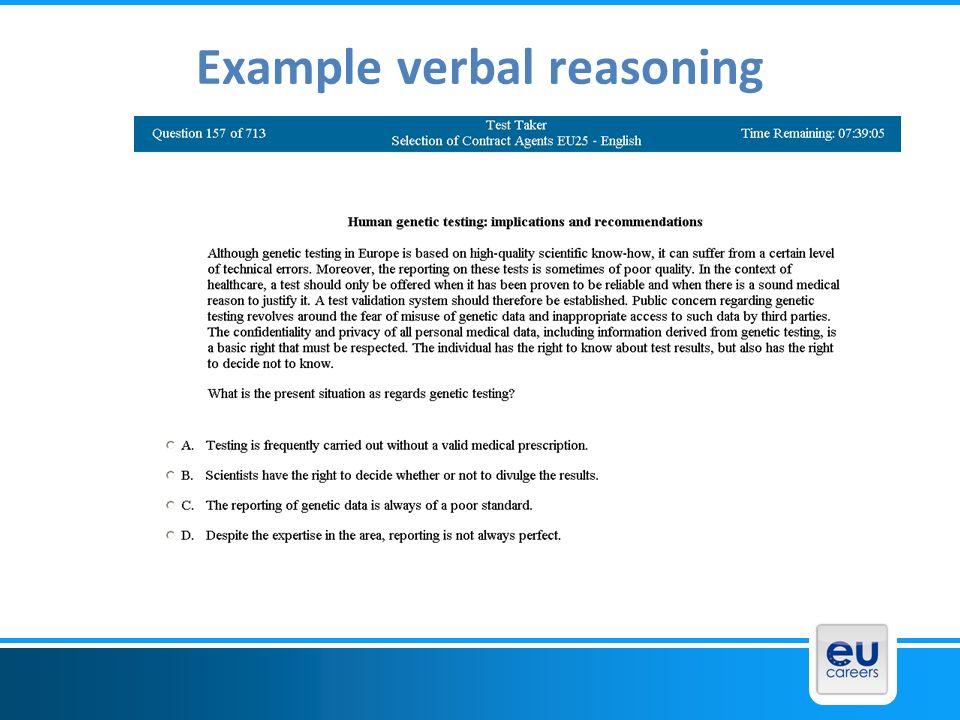 Example verbal reasoning