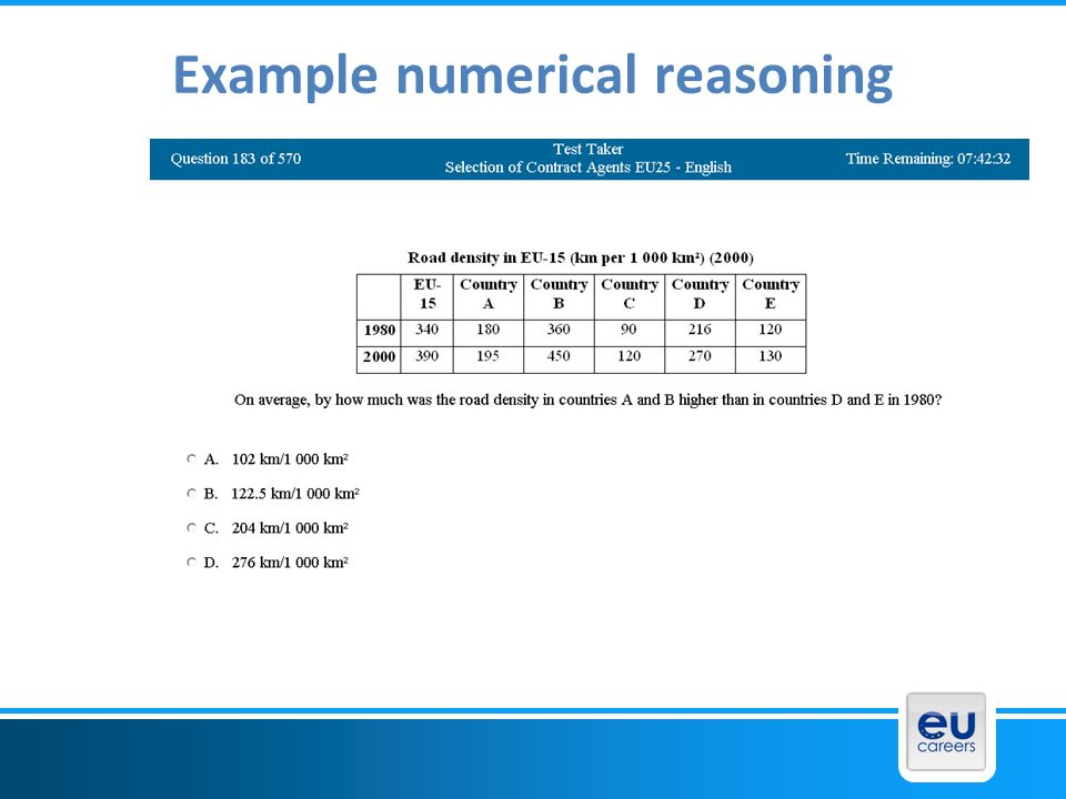 Example numerical reasoning