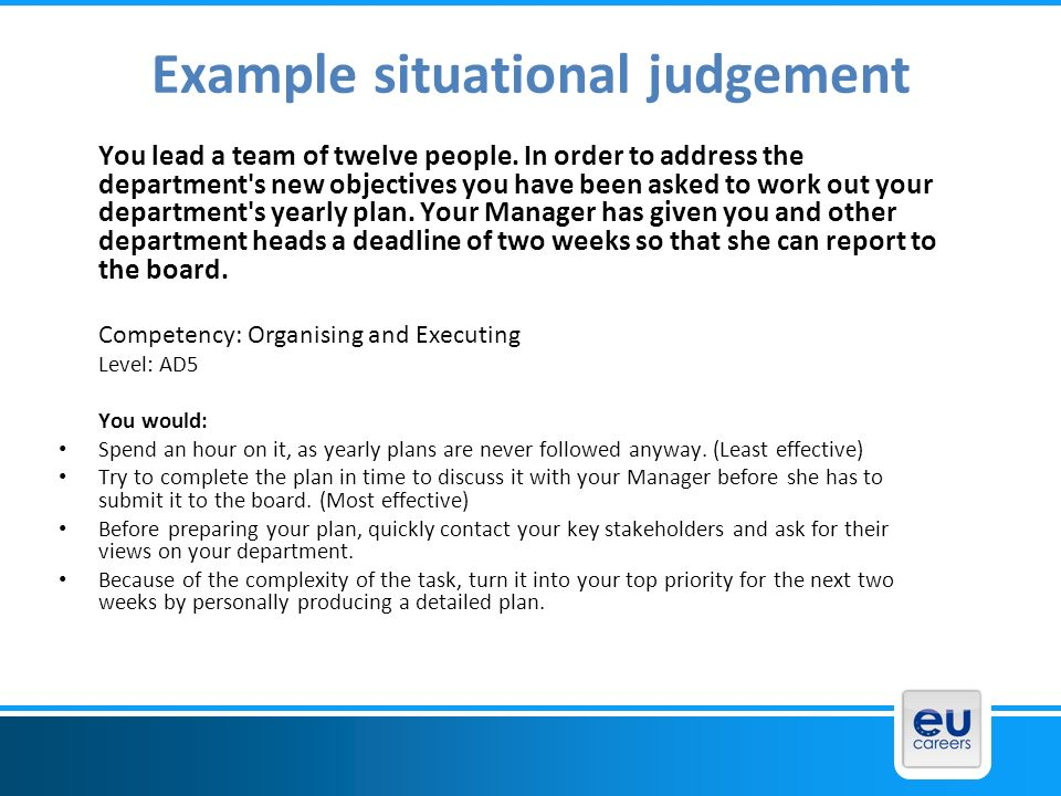Example situational judgement