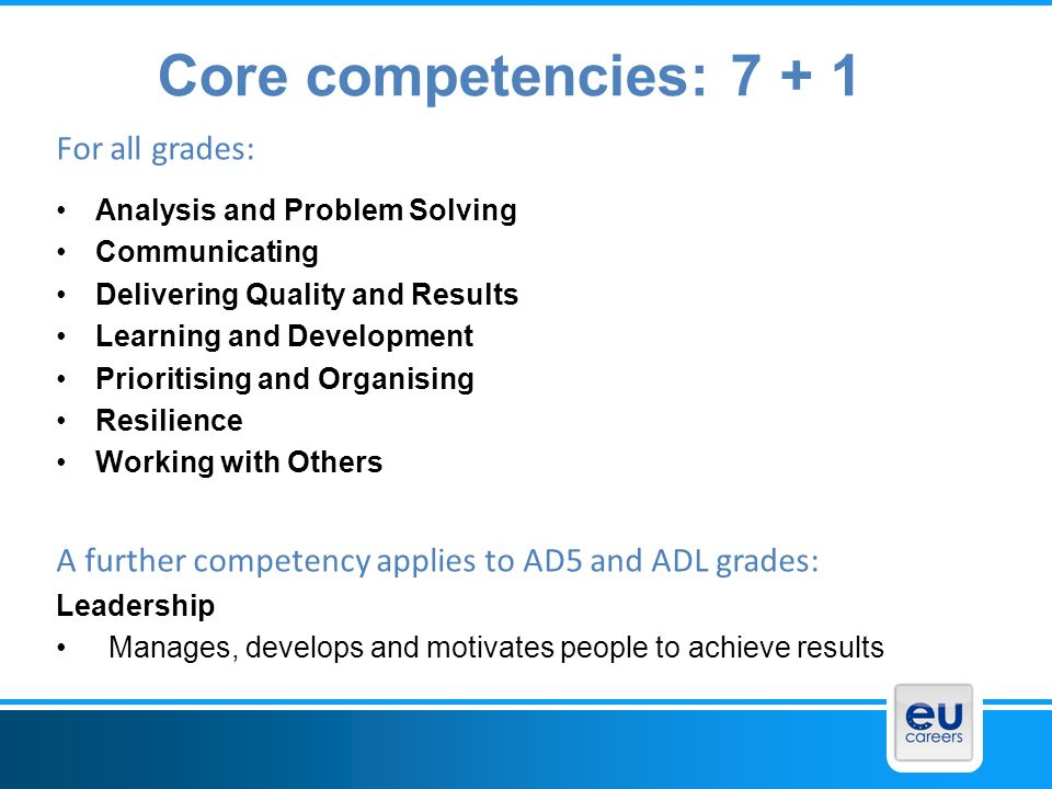 Core competencies: For all grades:
