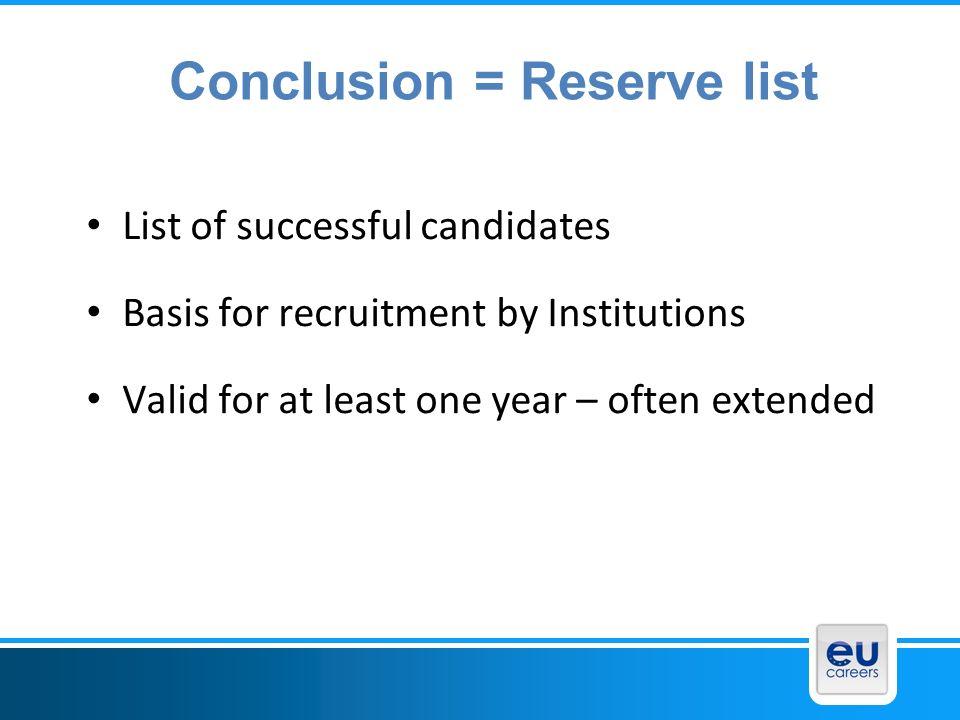 Conclusion = Reserve list