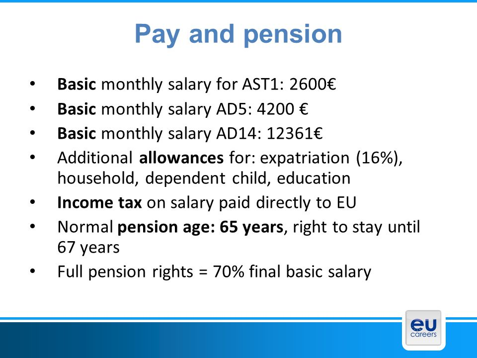 Pay and pension Basic monthly salary for AST1: 2600€