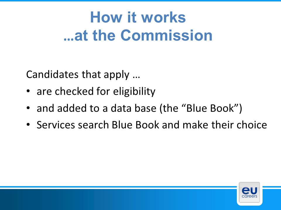 How it works …at the Commission