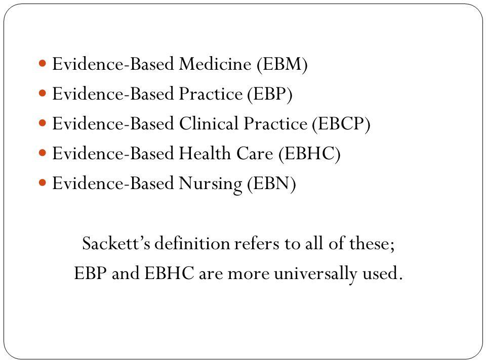 Evidence-Based Medicine (EBM) Evidence-Based Practice (EBP)