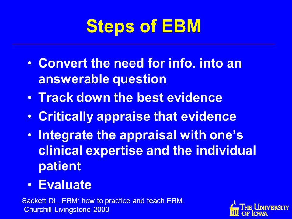 Steps of EBM Convert the need for info. into an answerable question