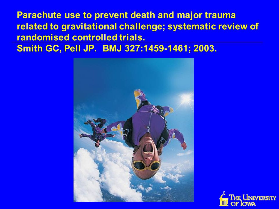 Parachute use to prevent death and major trauma related to gravitational challenge; systematic review of randomised controlled trials. Smith GC, Pell JP. BMJ 327:1459-1461; 2003.