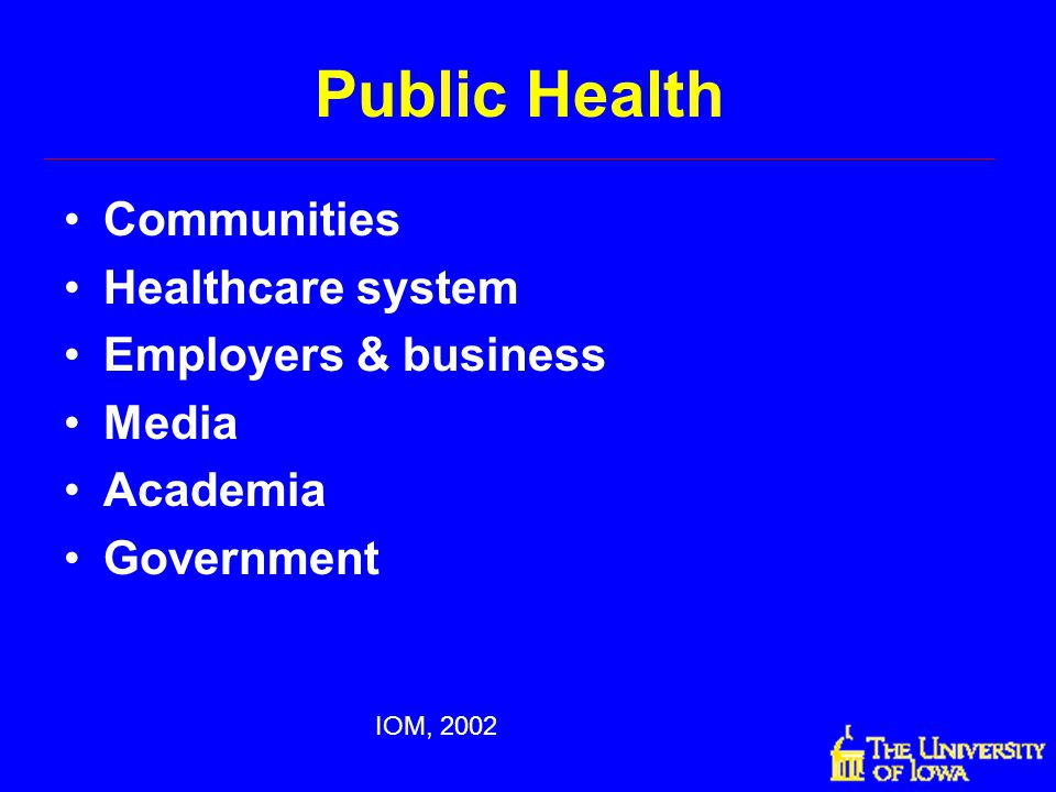 Public Health Communities Healthcare system Employers & business Media