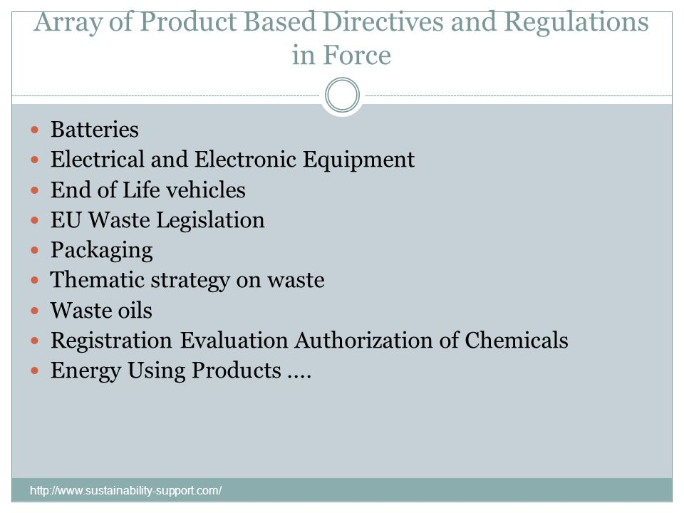 Array of Product Based Directives and Regulations in Force