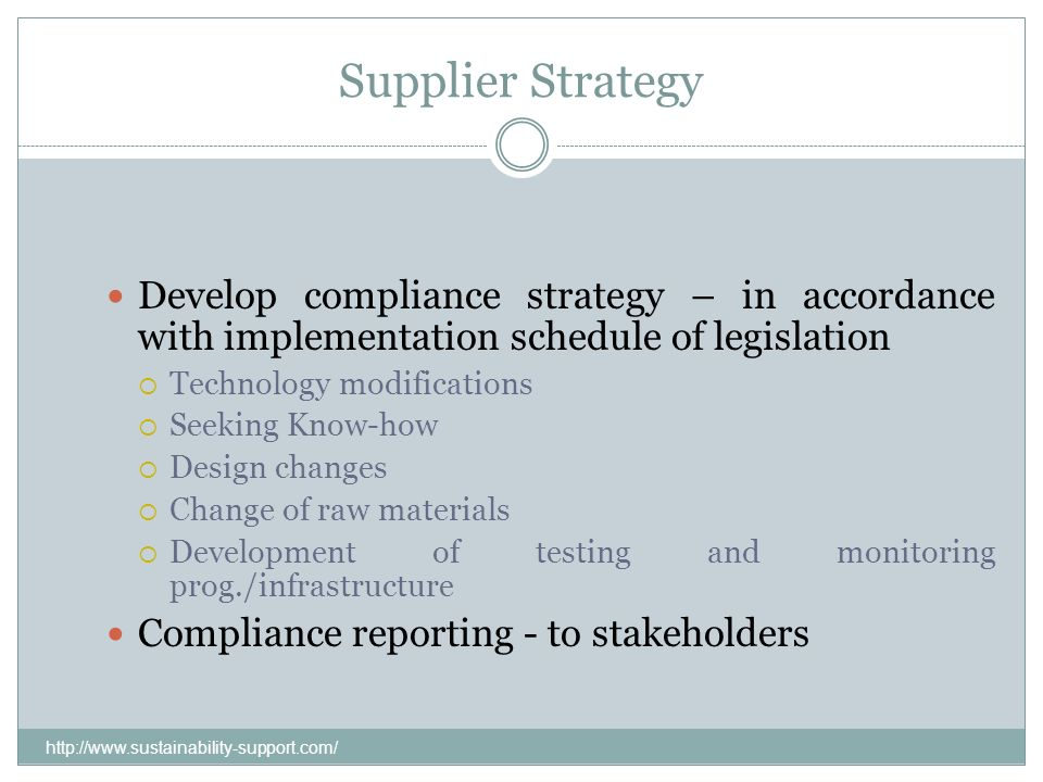 Supplier Strategy Develop compliance strategy – in accordance with implementation schedule of legislation.