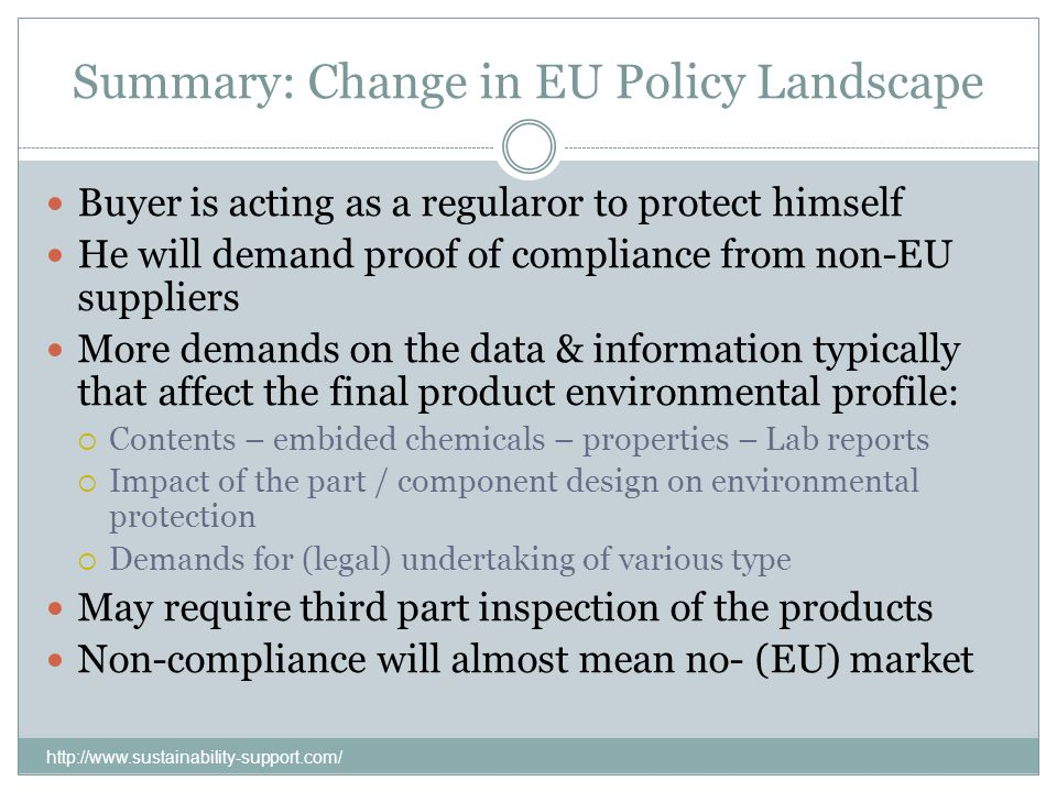 Summary: Change in EU Policy Landscape