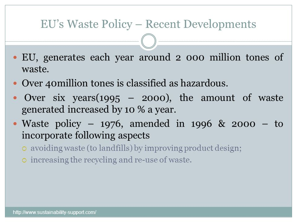 EU's Waste Policy – Recent Developments