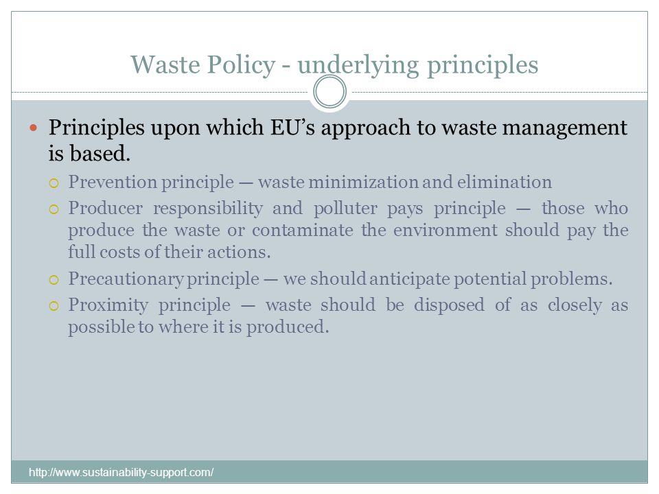 Waste Policy - underlying principles