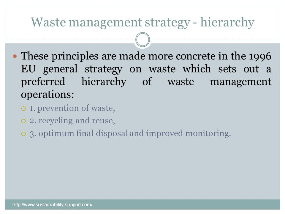 Waste management strategy - hierarchy
