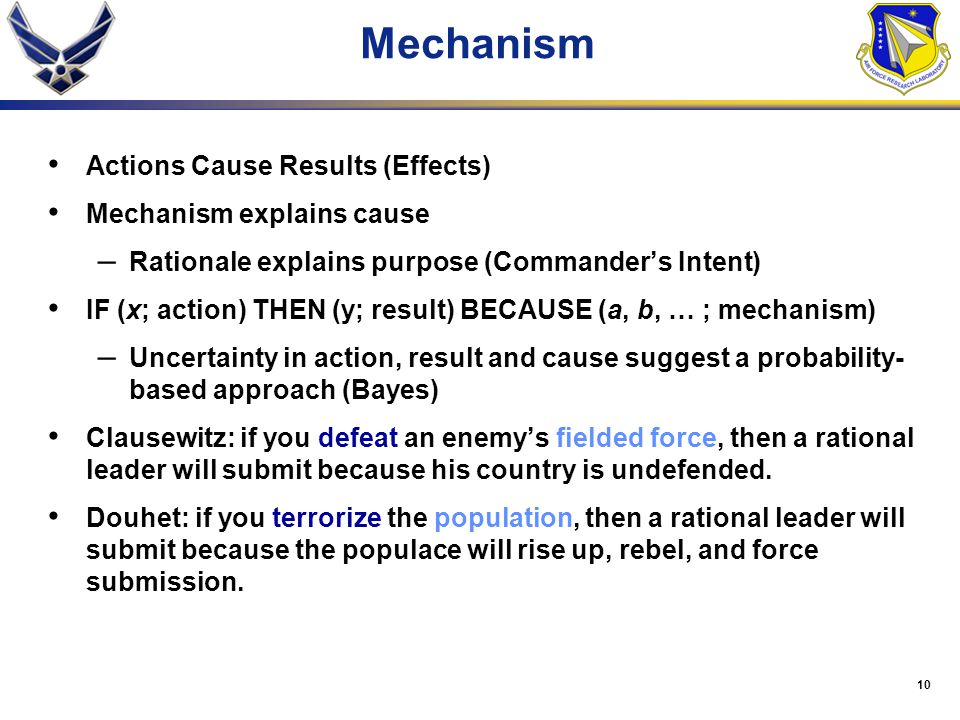 Mechanism Actions Cause Results (Effects) Mechanism explains cause
