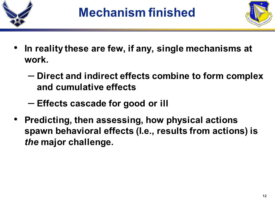 Mechanism finished In reality these are few, if any, single mechanisms at work.
