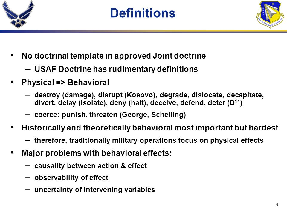 Definitions No doctrinal template in approved Joint doctrine