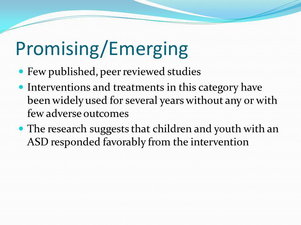 Promising/Emerging Few published, peer reviewed studies