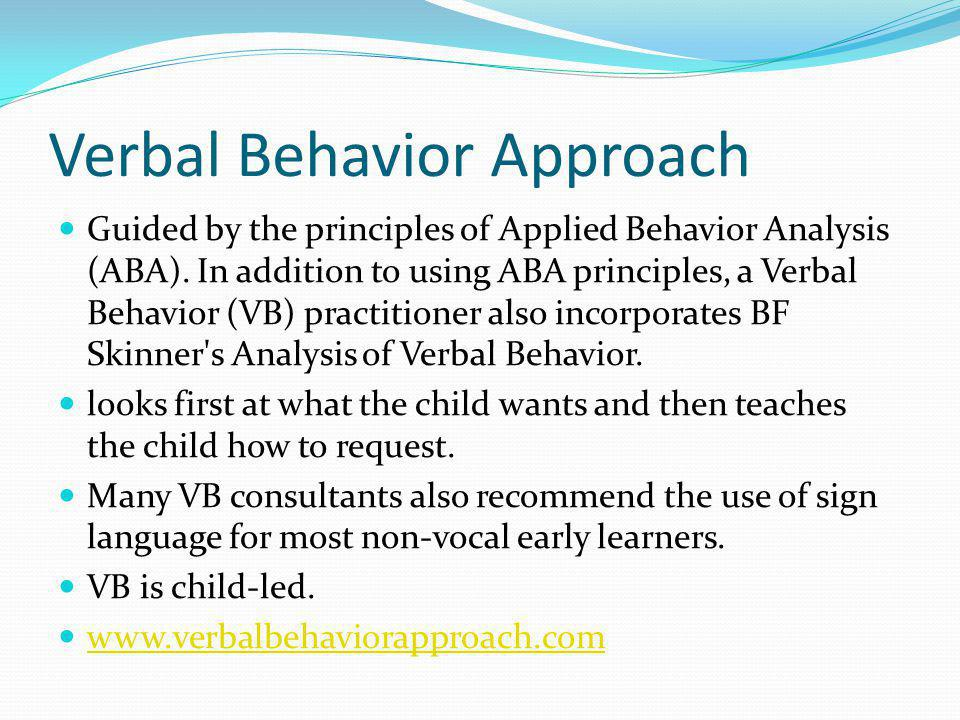 Verbal Behavior Approach