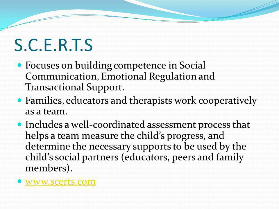 S.C.E.R.T.S Focuses on building competence in Social Communication, Emotional Regulation and Transactional Support.
