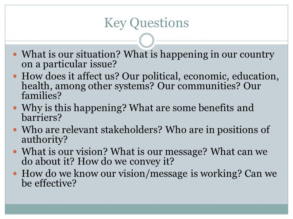 Key Questions What is our situation What is happening in our country on a particular issue