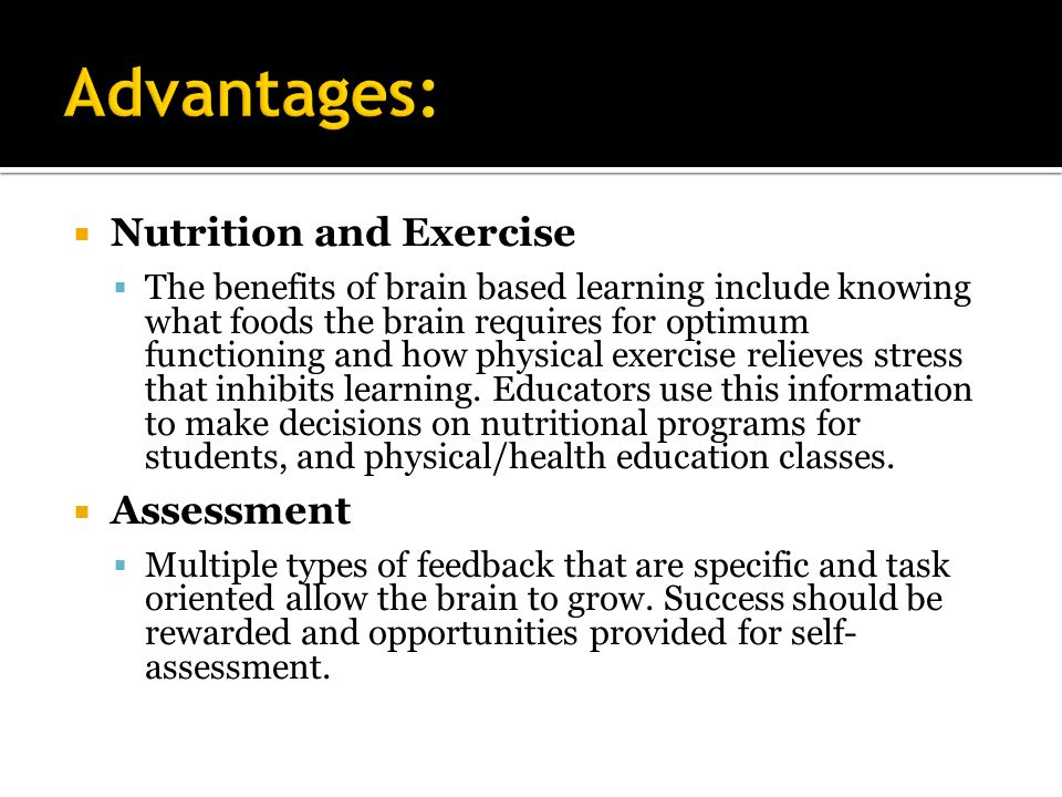 Advantages: Nutrition and Exercise Assessment