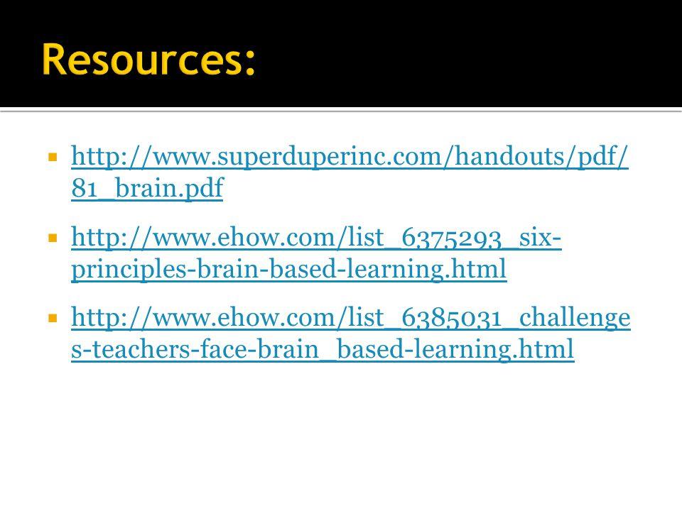 Resources: http://www.superduperinc.com/handouts/pdf/ 81_brain.pdf