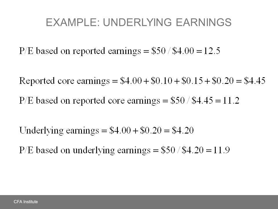 Example: Underlying Earnings