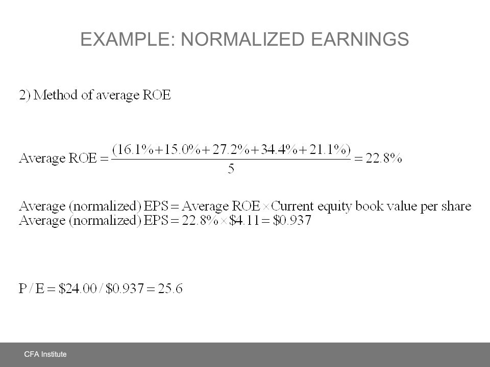 Example: Normalized Earnings