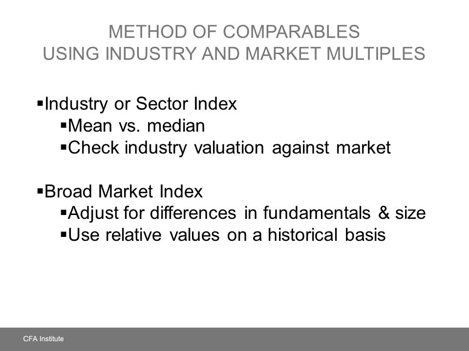Method of Comparables Using Industry and Market Multiples