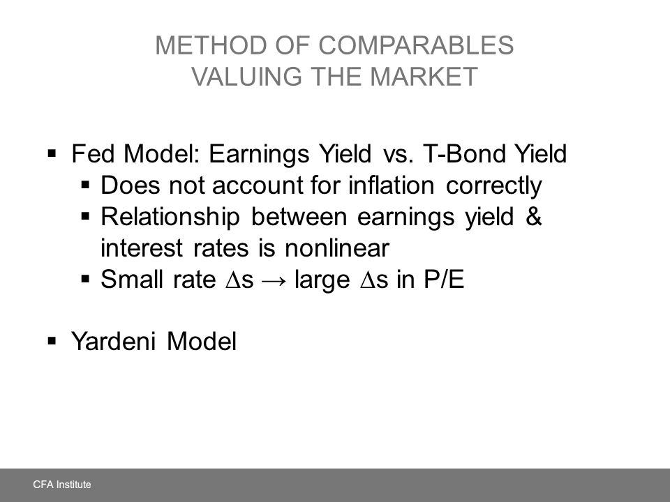 Method of Comparables Valuing the Market