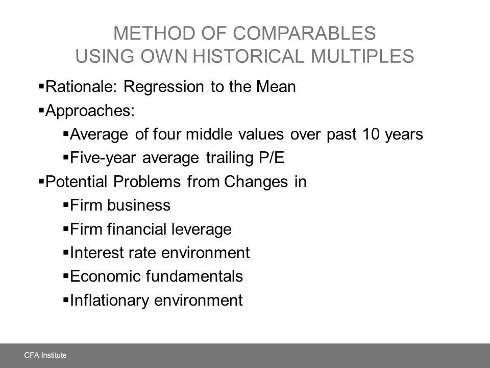 Method of Comparables Using Own Historical Multiples
