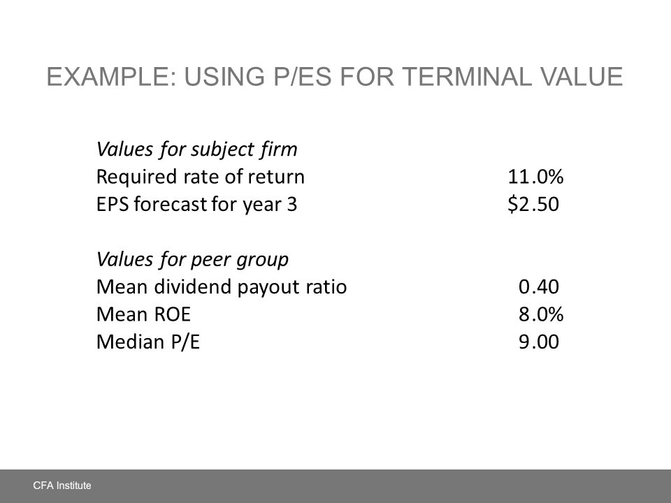 Example: Using P/Es for Terminal Value